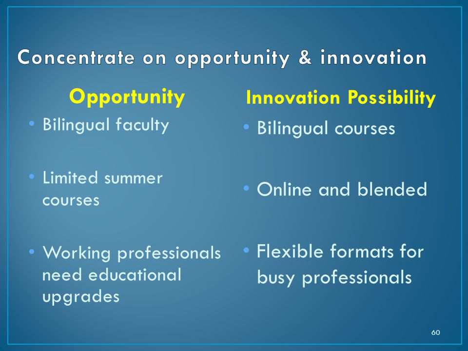 Opportunity Bilingual faculty Limited summer courses Working professionals need educational upgrades Innovation Possibility Bilingual courses Online and blended Flexible formats for busy professionals 60