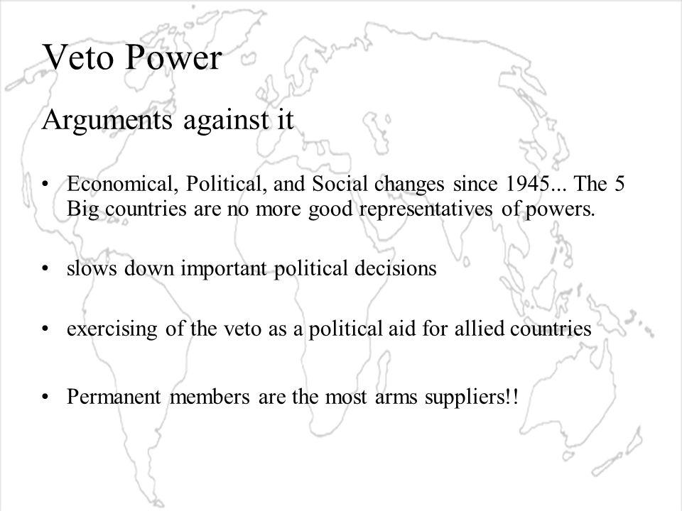 Veto Power Arguments against it Economical, Political, and Social changes since 1945...