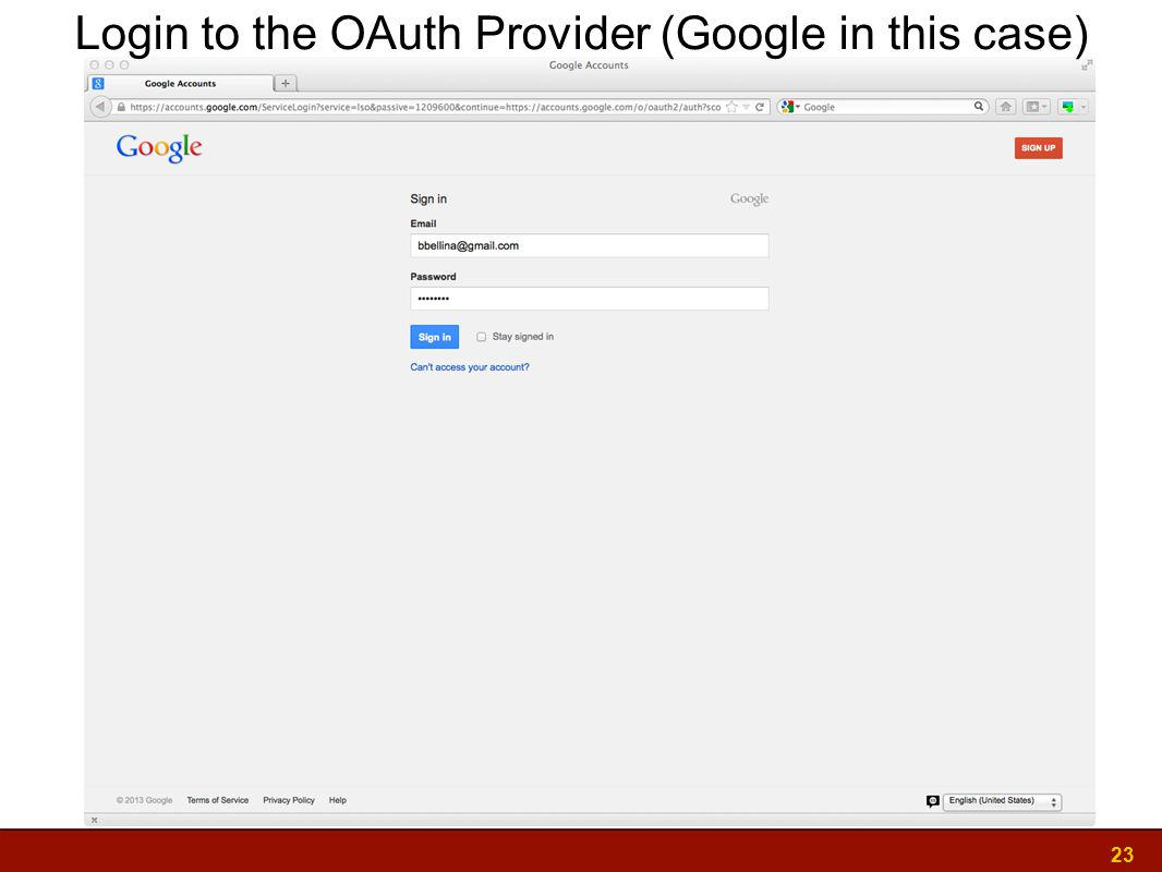 23 Login to the OAuth Provider (Google in this case)