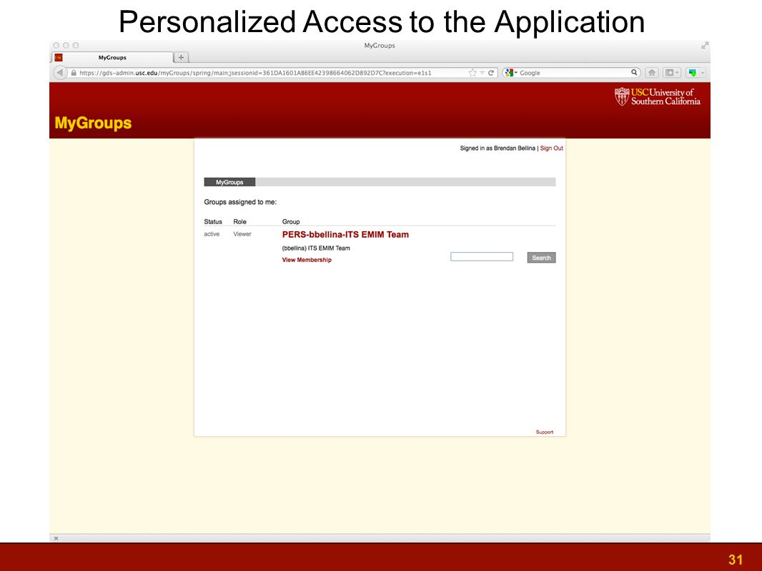 31 Personalized Access to the Application