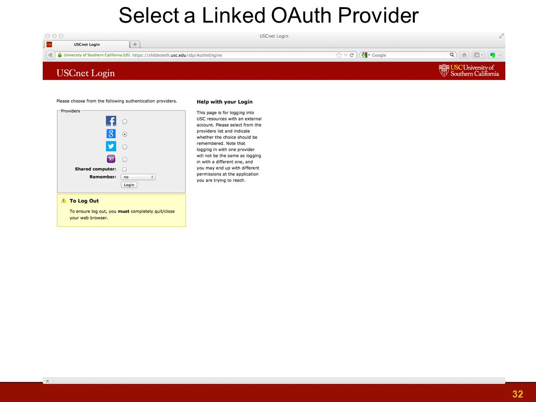 32 Select a Linked OAuth Provider