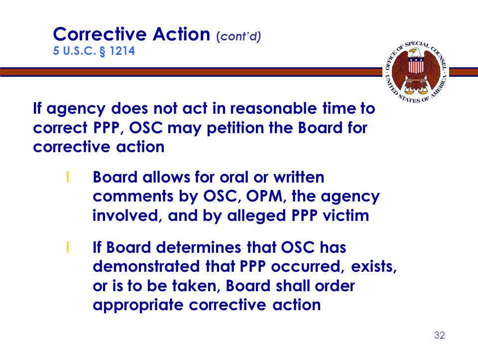 31 Corrective Action ( cont'd) 5 U.S.C.