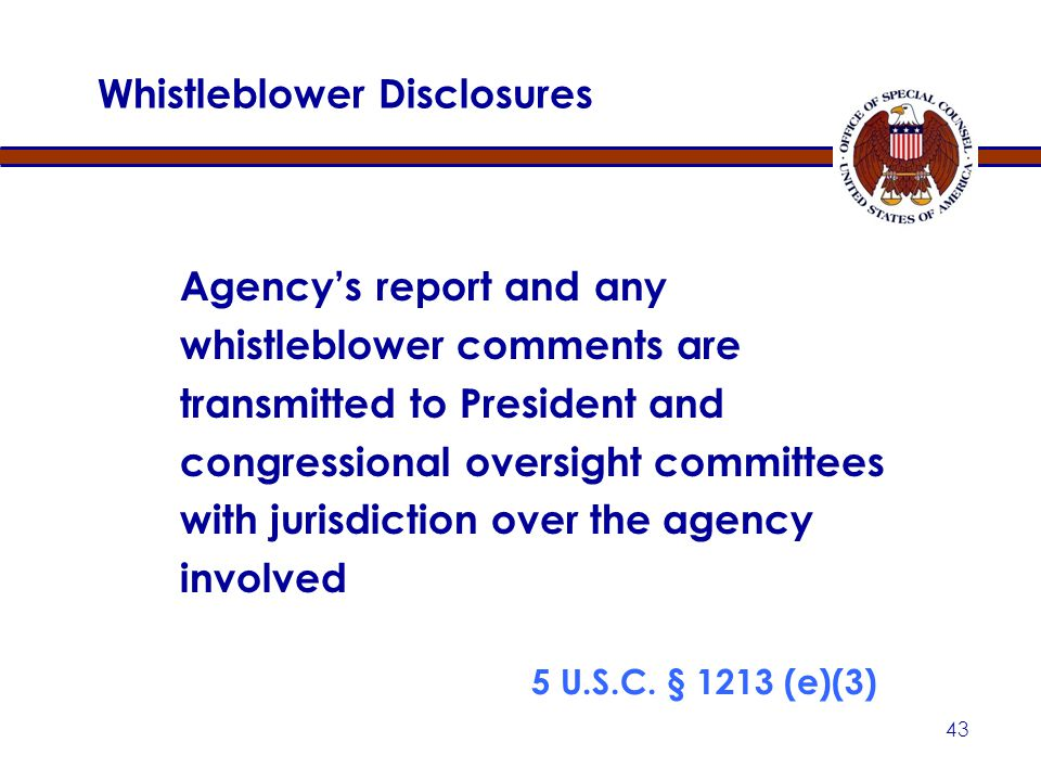 42 Whistleblower Disclosures Whistleblower's Comments Whistleblower has 15 days to comment on agency report 5 U.S.C.