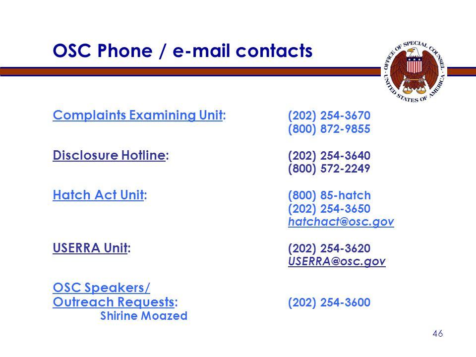 45 OSC WEB SITE ( http://www.osc.gov )