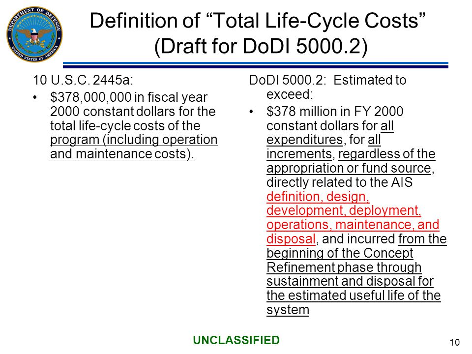 10 UNCLASSIFIED Definition of Total Life-Cycle Costs (Draft for DoDI 5000.2) 10 U.S.C.