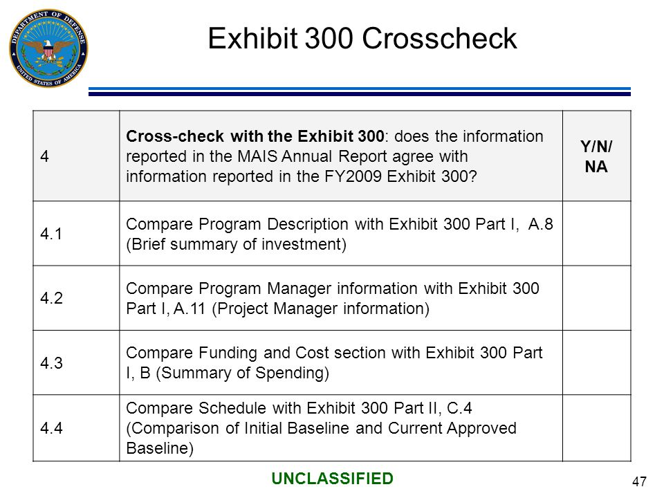 47 UNCLASSIFIED Exhibit 300 Crosscheck 4 Cross-check with the Exhibit 300: does the information reported in the MAIS Annual Report agree with information reported in the FY2009 Exhibit 300.