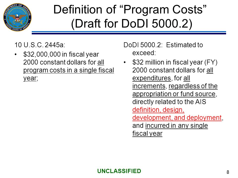 8 UNCLASSIFIED Definition of Program Costs (Draft for DoDI 5000.2) 10 U.S.C.