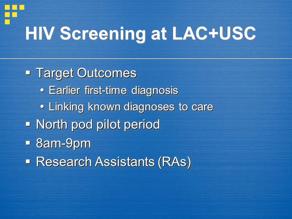 Patient presents to Triage Unknown HIV Patient brought to North Pod No further HIV-specific management, continue with routine care HIV status requested Patient offered HIV test by RA RA notes reason for decline Patient declines Patient accepts OraQuick test performed Result noted into Sunquest lab system RA informs patient of negative result Patient given copy Negative Screen Positive Screen Result noted into Sunquest laboratory system RA informs treating MD MD discloses result to patient Copy of results given Confirmatory Western Blot, CD4 and HIV viral load drawn RA telephone follow up at 2 weeks Document linkage to care Follow up appointment with Rand Schrader arranged for 5-7 days Rand Schrader Clinic personnel notified