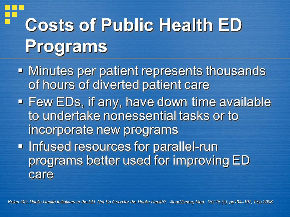 Costs of Public Health ED Programs  Minutes per patient represents thousands of hours of diverted patient care  Few EDs, if any, have down time available to undertake nonessential tasks or to incorporate new programs  Infused resources for parallel-run programs better used for improving ED care  Minutes per patient represents thousands of hours of diverted patient care  Few EDs, if any, have down time available to undertake nonessential tasks or to incorporate new programs  Infused resources for parallel-run programs better used for improving ED care Kelen GD.
