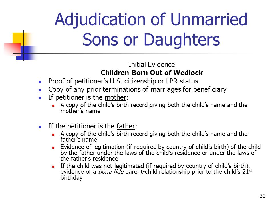 30 Adjudication of Unmarried Sons or Daughters Initial Evidence Children Born Out of Wedlock Proof of petitioner's U.S. citizenship or LPR status Copy