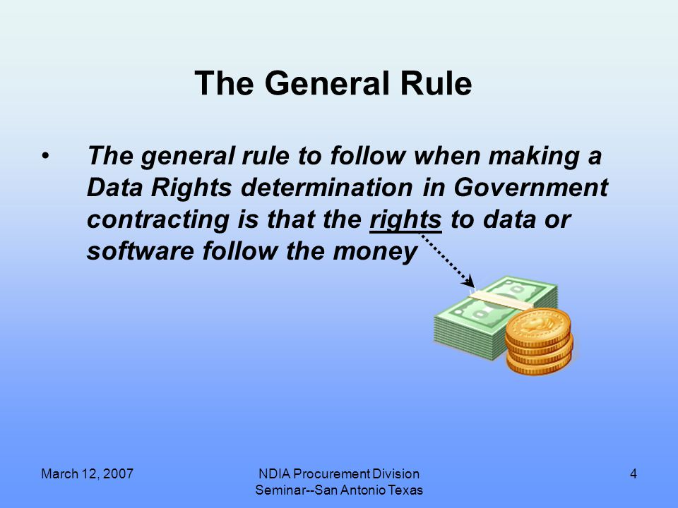 """March 12, 2007NDIA Procurement Division Seminar--San Antonio Texas 3 Quick Primer on 10 USC 2320 Describes three funding """"pathways"""" and consequences a"""