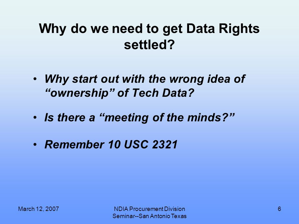 """March 12, 2007NDIA Procurement Division Seminar--San Antonio Texas 5 Quick Primer on 10 USC 2321 Generally known as the """"challenge"""" statute Deals with"""