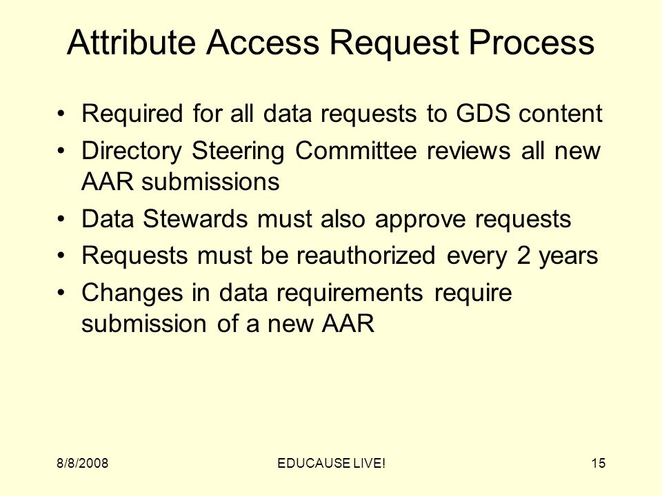 8/8/2008EDUCAUSE LIVE!15 Attribute Access Request Process Required for all data requests to GDS content Directory Steering Committee reviews all new AAR submissions Data Stewards must also approve requests Requests must be reauthorized every 2 years Changes in data requirements require submission of a new AAR