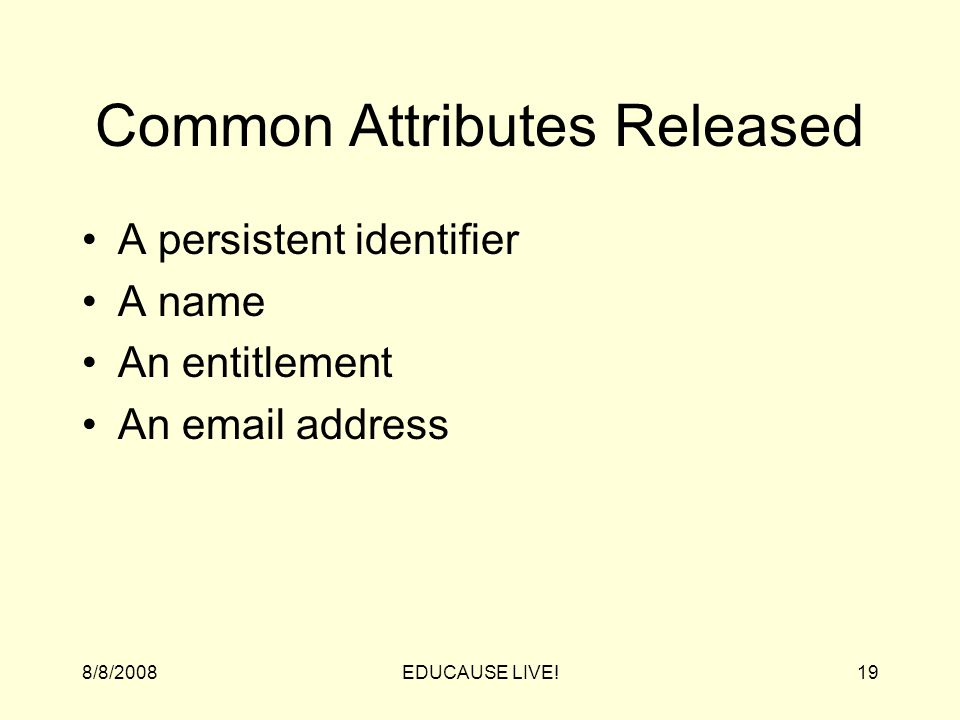 8/8/2008EDUCAUSE LIVE!19 Common Attributes Released A persistent identifier A name An entitlement An email address