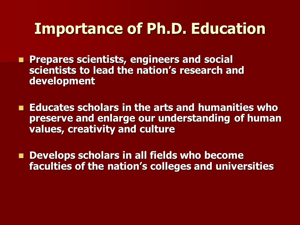 Importance of Ph.D.