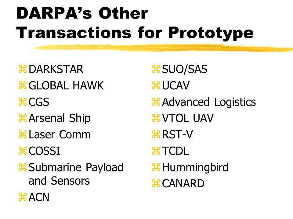 DARPA's Other Transactions for Prototype zDARKSTAR zGLOBAL HAWK zCGS zArsenal Ship zLaser Comm zCOSSI zSubmarine Payload and Sensors zACN zSUO/SAS zUCAV zAdvanced Logistics zVTOL UAV zRST-V zTCDL zHummingbird zCANARD