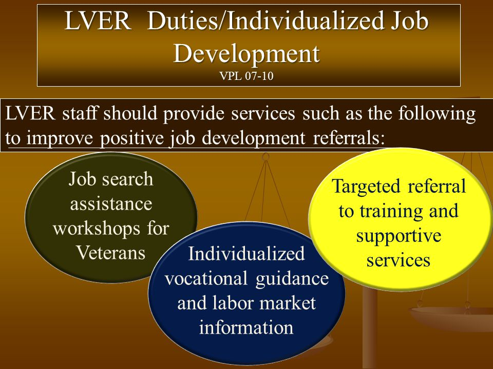 LVER Duties/Individualized Job Development VPL 07-10 LVER staff should provide services such as the following to improve positive job development referrals: Job search assistance workshops for Veterans Individualized vocational guidance and labor market information Targeted referral to training and supportive services