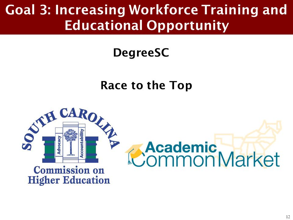 DegreeSC Race to the Top Goal 3: Increasing Workforce Training and Educational Opportunity 12