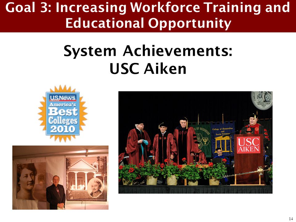 System Achievements: USC Aiken Goal 3: Increasing Workforce Training and Educational Opportunity 14