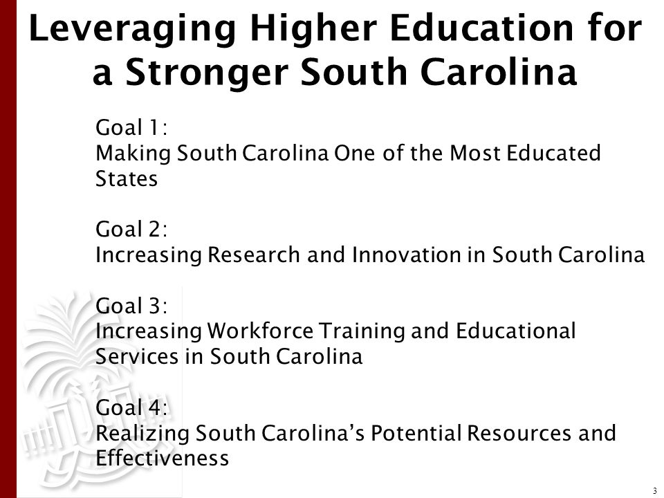 Leveraging Higher Education for a Stronger South Carolina Goal 1: Making South Carolina One of the Most Educated States Goal 2: Increasing Research and Innovation in South Carolina Goal 3: Increasing Workforce Training and Educational Services in South Carolina Goal 4: Realizing South Carolina's Potential Resources and Effectiveness 3