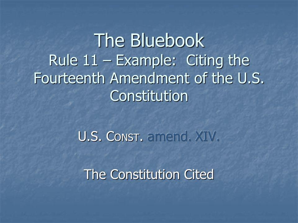 The Bluebook Rule 12 Citing a Federal Statute