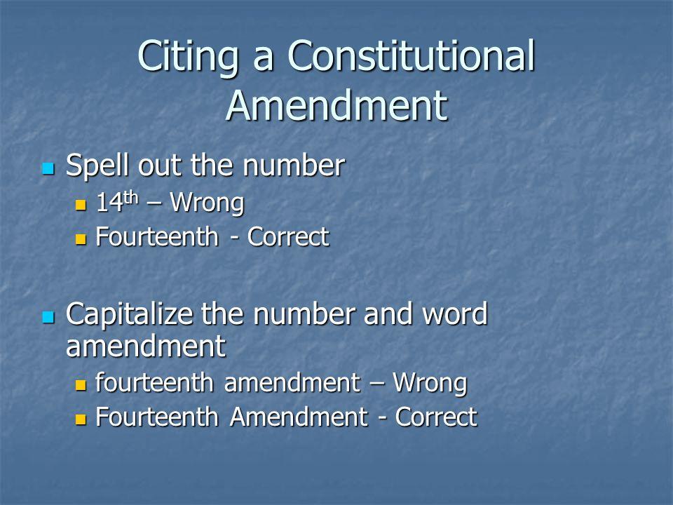 The Bluebook Rule 12 The United States Code (U.S.C.) is the official federal code The United States Code (U.S.C.) is the official federal code There are two unofficial federal codes There are two unofficial federal codes United States Code Service (U.S.C.S.) United States Code Service (U.S.C.S.) United States Code Annotated (U.S.C.A.) United States Code Annotated (U.S.C.A.)