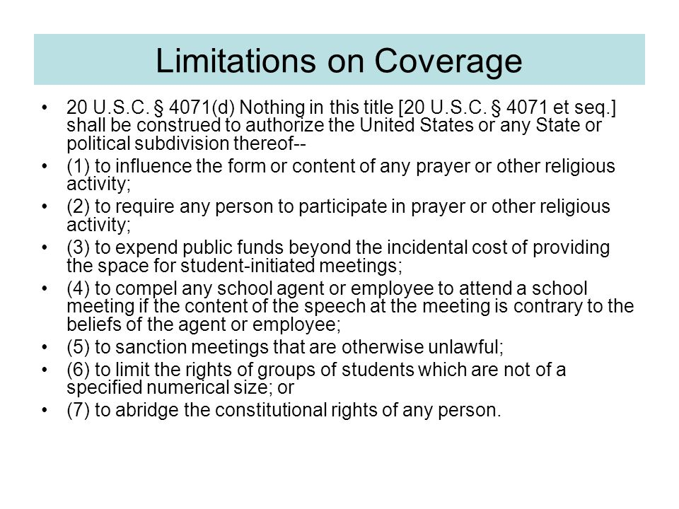 Limitations on Coverage 20 U.S.C. § 4071(d) Nothing in this title [20 U.S.C.