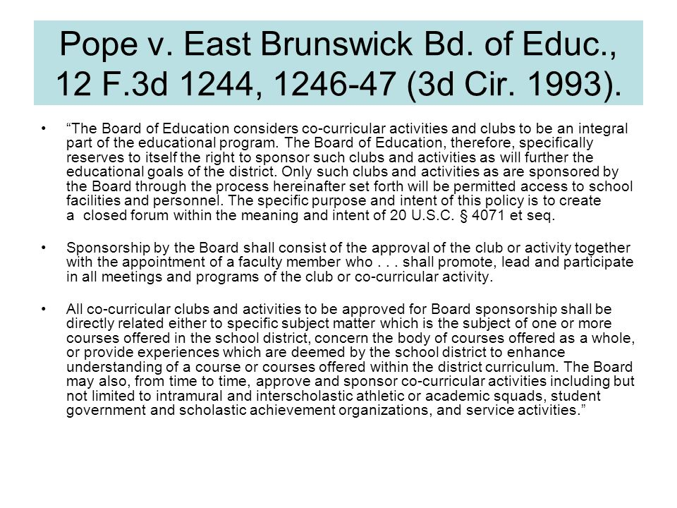 Pope v. East Brunswick Bd. of Educ., 12 F.3d 1244, 1246-47 (3d Cir.