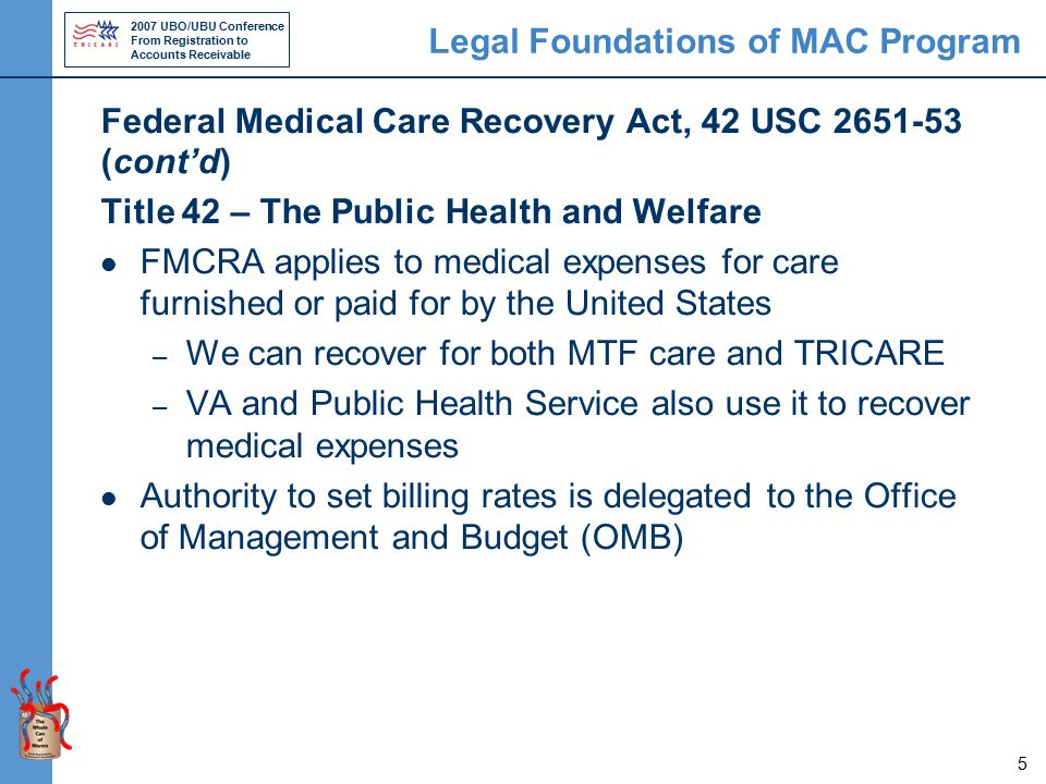 2007 UBO/UBU Conference From Registration to Accounts Receivable 5 Legal Foundations of MAC Program Federal Medical Care Recovery Act, 42 USC 2651-53 (cont'd) Title 42 – The Public Health and Welfare FMCRA applies to medical expenses for care furnished or paid for by the United States – We can recover for both MTF care and TRICARE – VA and Public Health Service also use it to recover medical expenses Authority to set billing rates is delegated to the Office of Management and Budget (OMB)