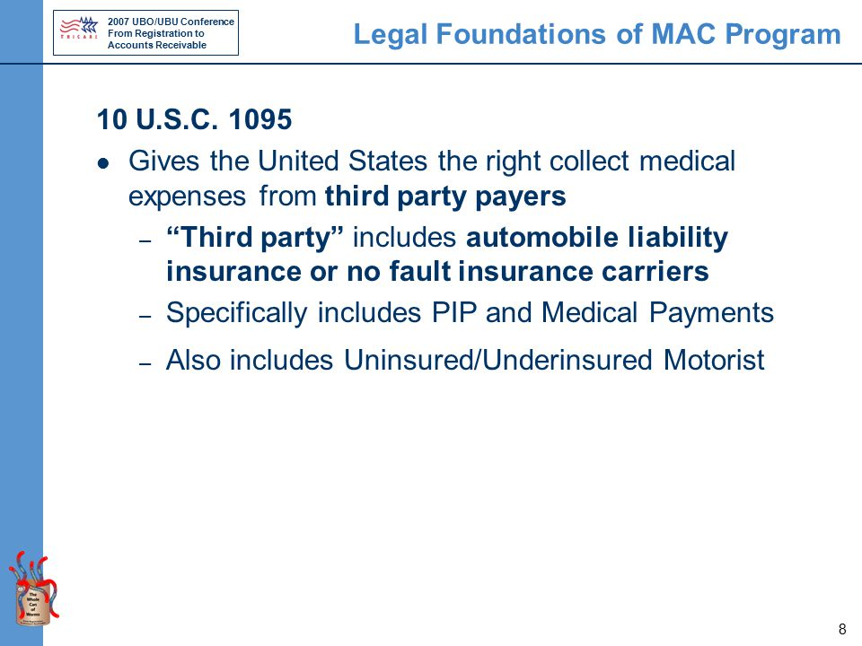 2007 UBO/UBU Conference From Registration to Accounts Receivable 8 Legal Foundations of MAC Program 10 U.S.C.