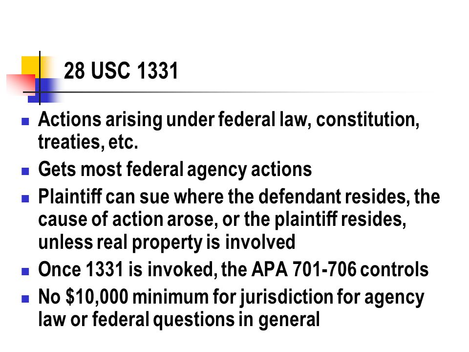28 USC 1331 Actions arising under federal law, constitution, treaties, etc.