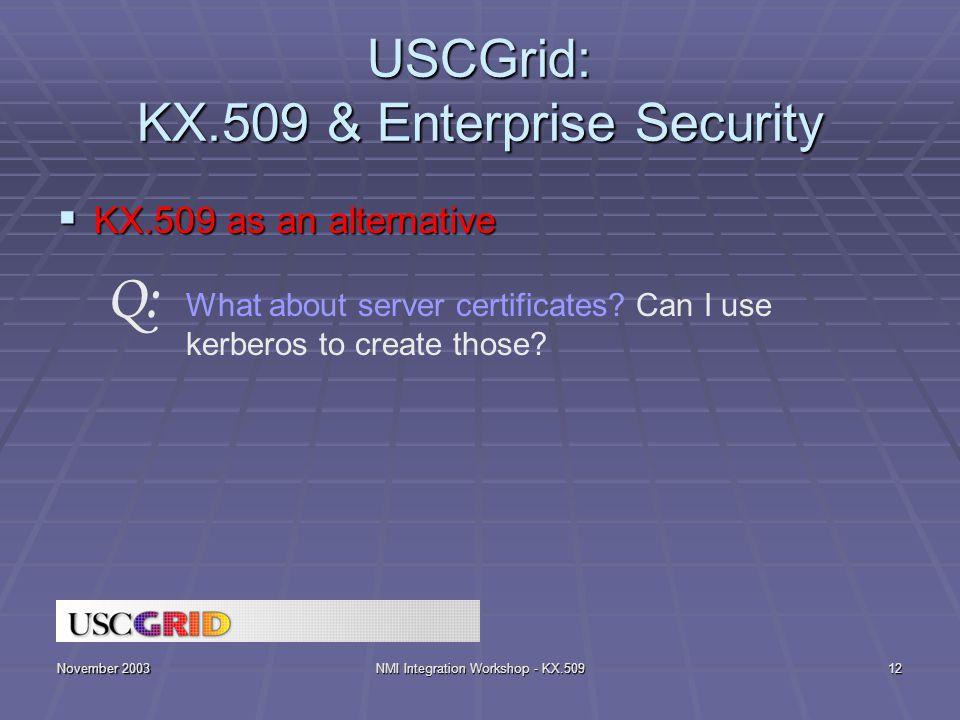 November 2003NMI Integration Workshop - KX.50912 USCGrid: KX.509 & Enterprise Security  KX.509 as an alternative What about server certificates? Can