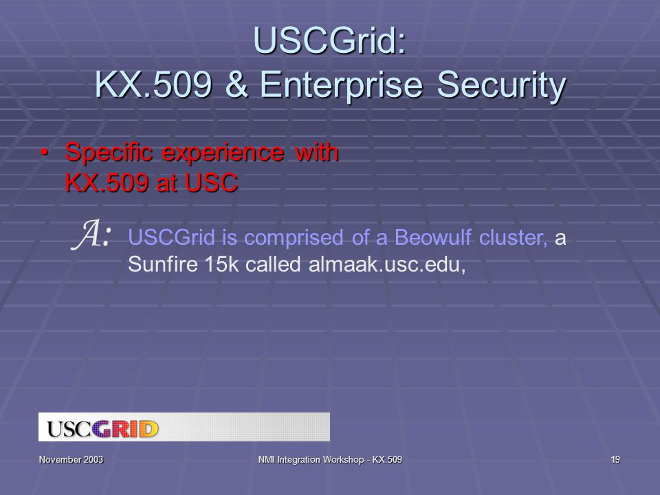 November 2003NMI Integration Workshop - KX.50919 USCGrid: KX.509 & Enterprise Security Specific experience with KX.509 at USCSpecific experience with KX.509 at USC USCGrid is comprised of a Beowulf cluster, a Sunfire 15k called almaak.usc.edu, A: