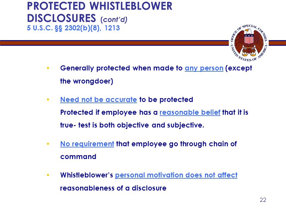 21 PROTECTED WHISTLEBLOWER DISCLOSURES 5 U.S.C.