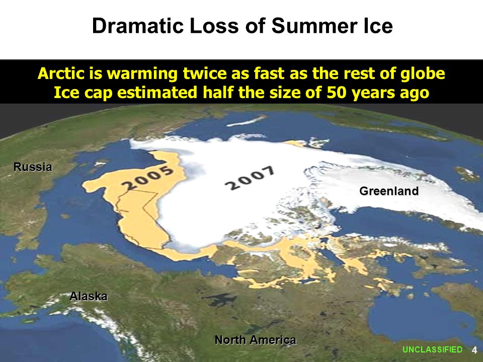 Dramatic Loss of Summer Ice Alaska Greenland Arctic is warming twice as fast as the rest of globe Ice cap estimated half the size of 50 years ago UNCL