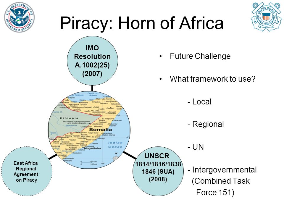 Piracy: Straits of Malacca Intergovernmental cooperation to significantly reduce incidents of piracy by 75% from 2004 to 2007 38 incidents in 2004 1 incident to date in 2008