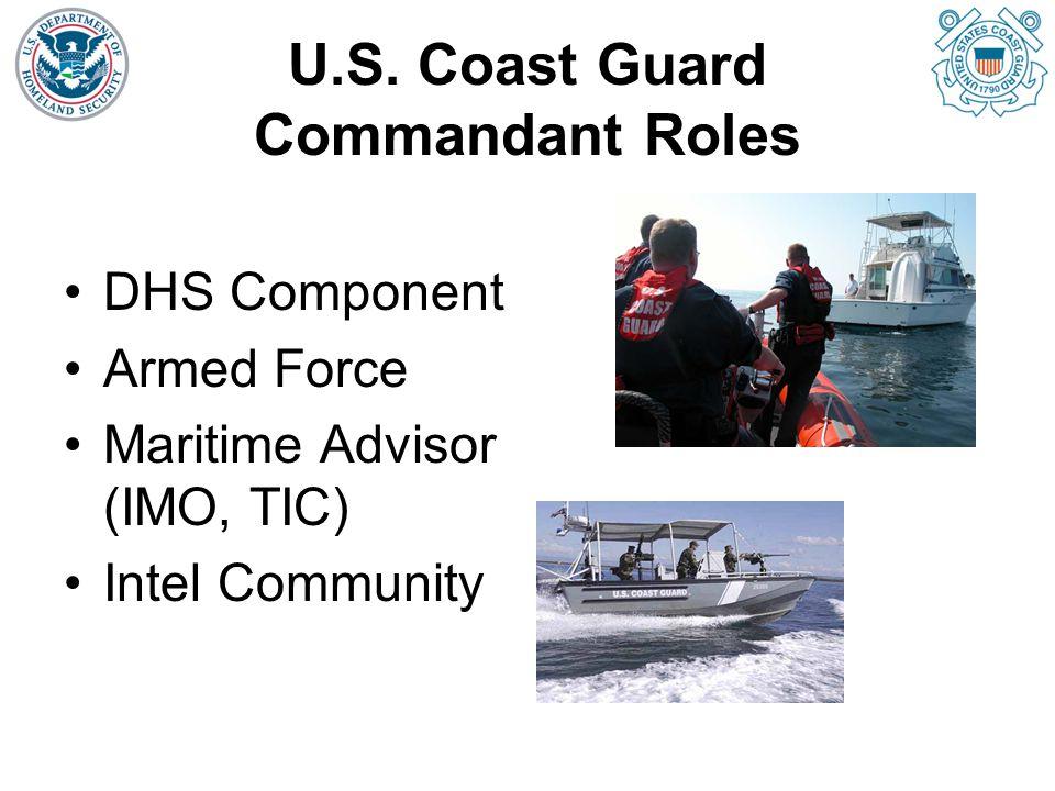 U.S. Coast Guard Commandant Roles DHS Component Armed Force Maritime Advisor (IMO, TIC) Intel Community