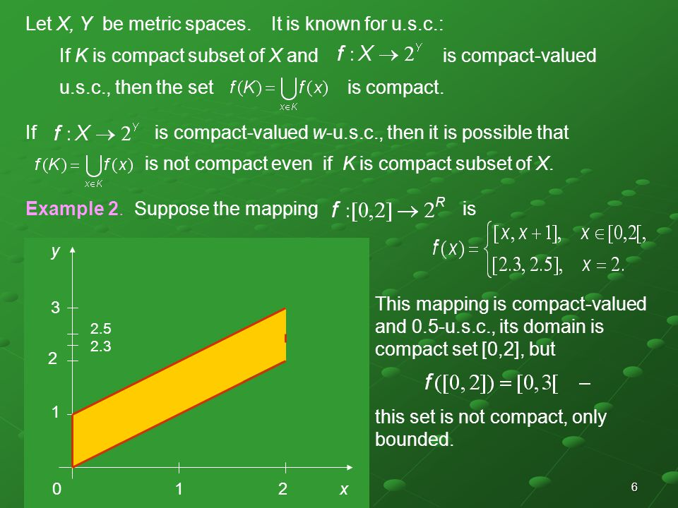 6 Let X, Y be metric spaces. It is known for u.s.c.: If K is compact subset of X and is compact-valued u.s.c., then the set is compact. If is compact-