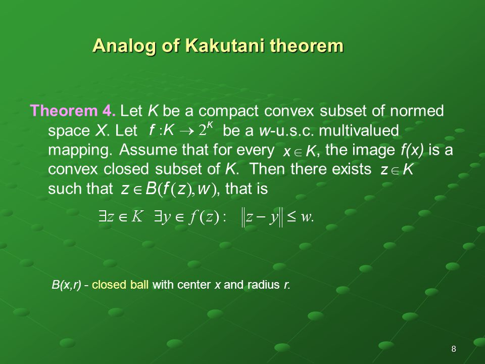 8 Analog of Kakutani theorem Theorem 4. Let K be a compact convex subset of normed space X.