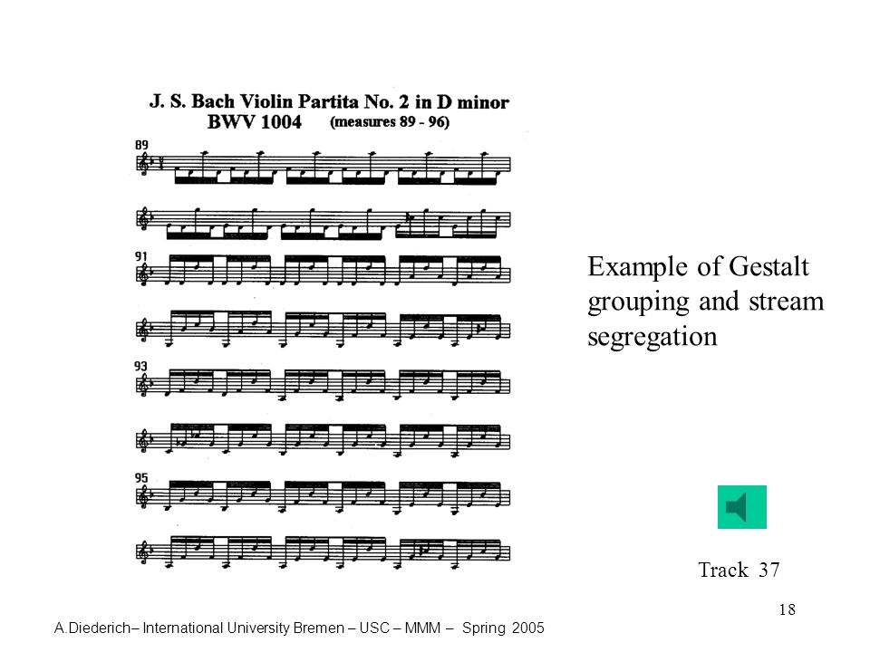 A.Diederich– International University Bremen – USC – MMM – Spring 2005 18 Example of Gestalt grouping and stream segregation Track 37