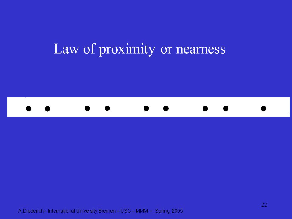 A.Diederich– International University Bremen – USC – MMM – Spring 2005 22 Law of proximity or nearness