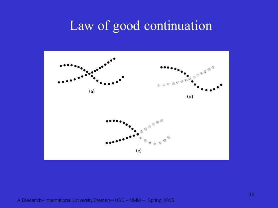 A.Diederich– International University Bremen – USC – MMM – Spring 2005 30 Law of good continuation