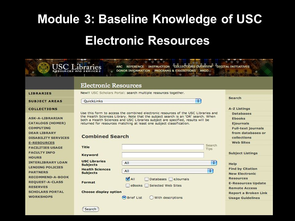 Module 3: Baseline Knowledge of USC Electronic Resources