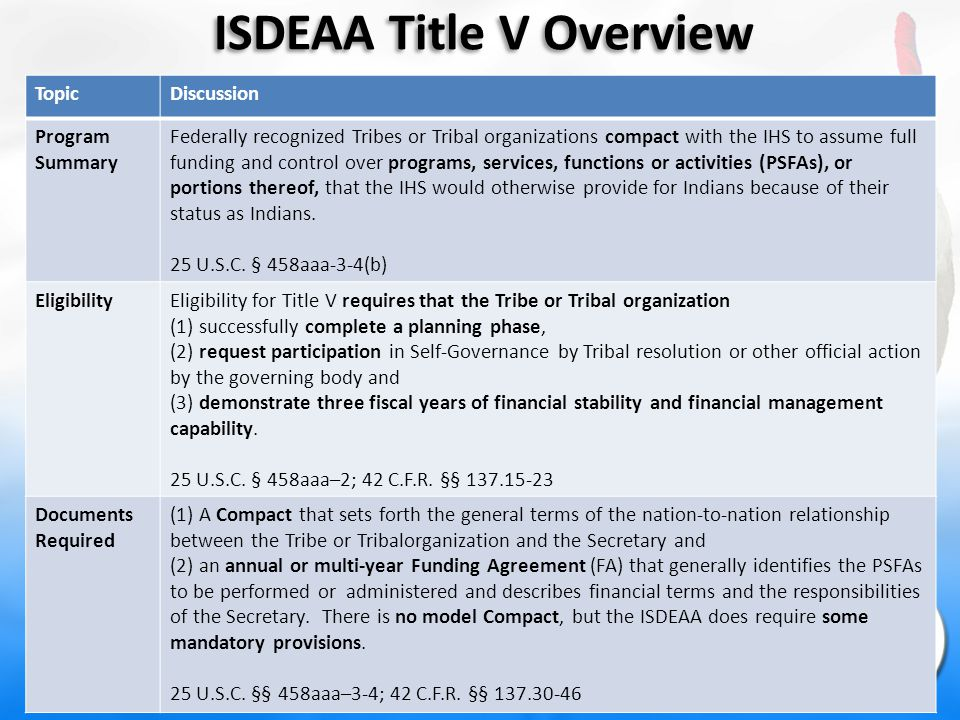 ISDEAA Title V Overview TopicDiscussion Program Summary Federally recognized Tribes or Tribal organizations compact with the IHS to assume full funding and control over programs, services, functions or activities (PSFAs), or portions thereof, that the IHS would otherwise provide for Indians because of their status as Indians.