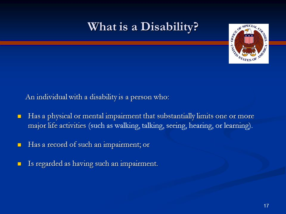 16 Disability Discrimination Title I of the Americans with Disabilities Act of 1990 (ADA) prohibits private employers, state and local governments, em