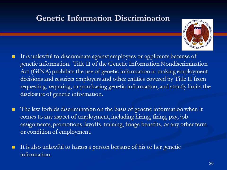 19 Age Discrimination The Age Discrimination in Employment Act of 1967 (ADEA) protects individuals who are 40 years of age or older from employment di