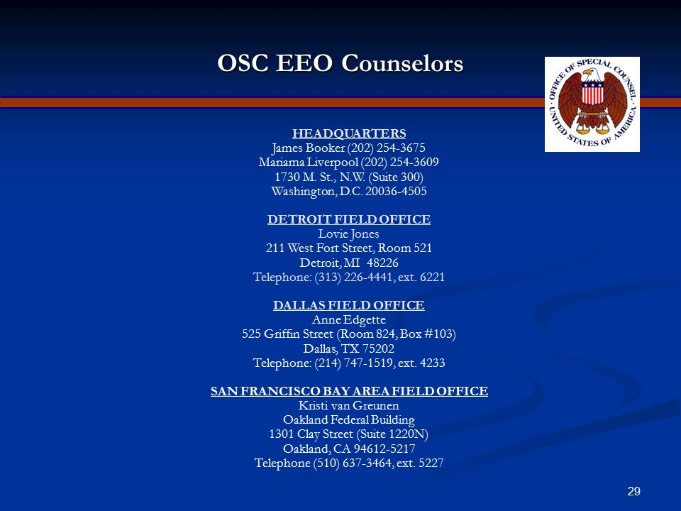"""28 OSC EEO Directives The following EEO directives are accessible on OSC's intranet: The following EEO directives are accessible on OSC's intranet: """"E"""