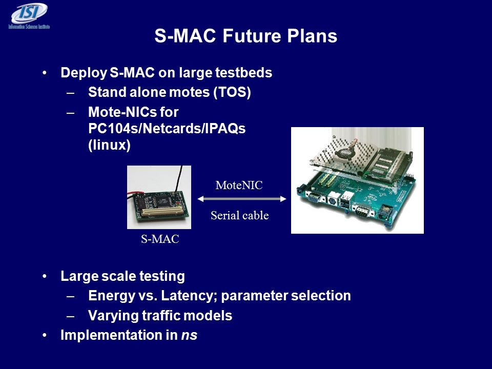 S-MAC Future Plans Deploy S-MAC on large testbeds –Stand alone motes (TOS) –Mote-NICs for PC104s/Netcards/IPAQs (linux) Large scale testing –Energy vs