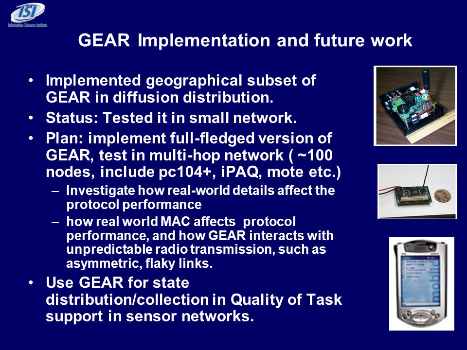 GEAR Implementation and future work Implemented geographical subset of GEAR in diffusion distribution.