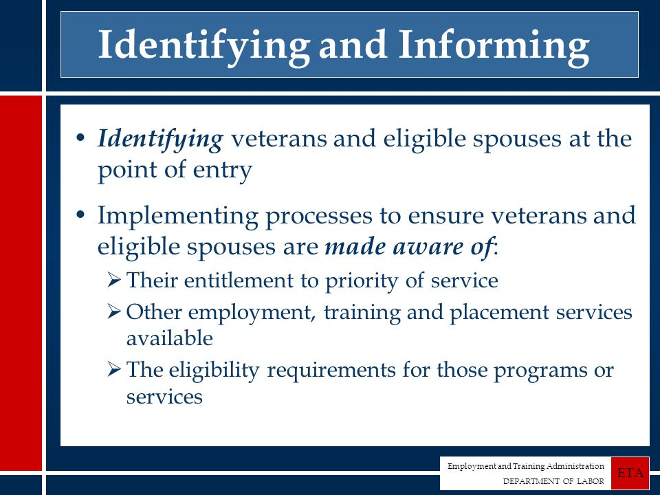 Employment and Training Administration DEPARTMENT OF LABOR ETA Identifying and Informing Identifying veterans and eligible spouses at the point of entry Implementing processes to ensure veterans and eligible spouses are made aware of :  Their entitlement to priority of service  Other employment, training and placement services available  The eligibility requirements for those programs or services